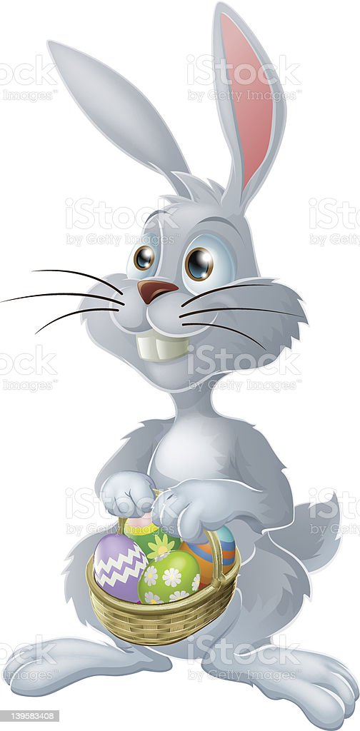 Vector illustration of Easter Bunny holding basket of eggs royalty-free stock vector art