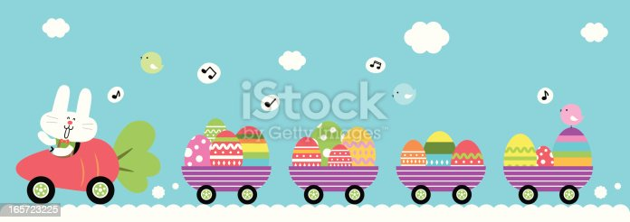 Vector illustration - Cute Bunny Driving Carrot Car, Carrying Easter Egg.