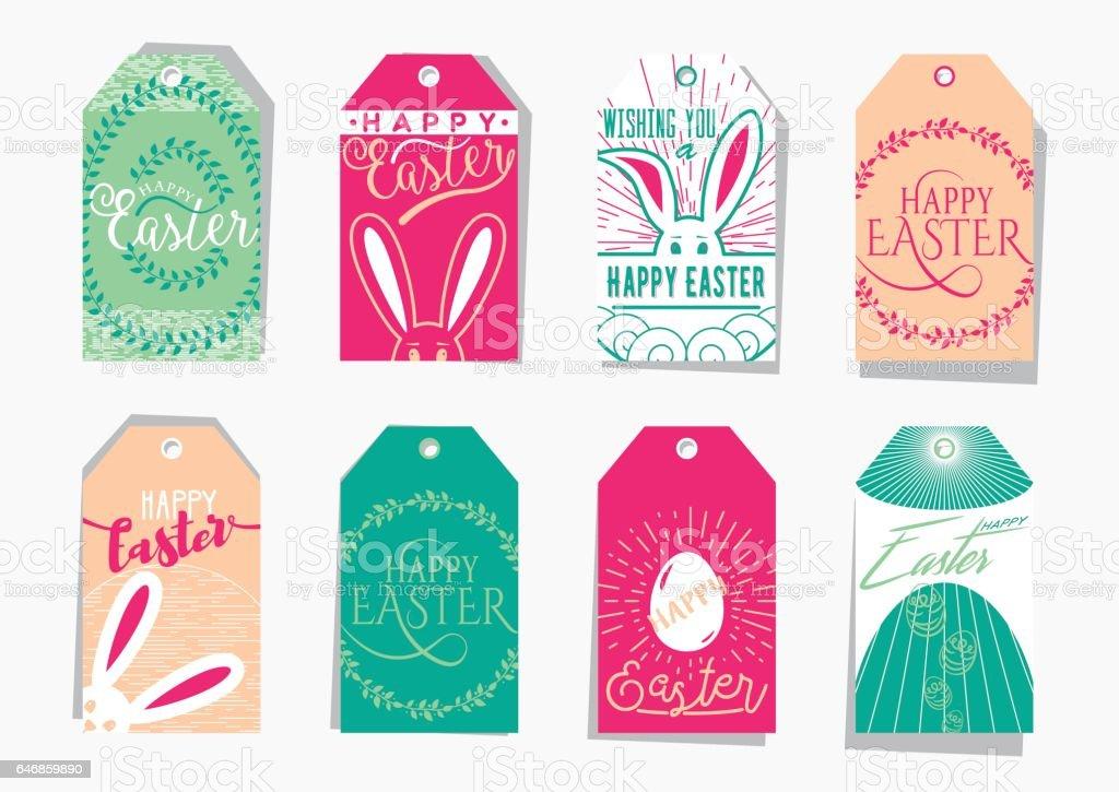 Vector illustration of easter gift tag set with wishing holiday text vector illustration of easter gift tag set with wishing holiday text negle Images
