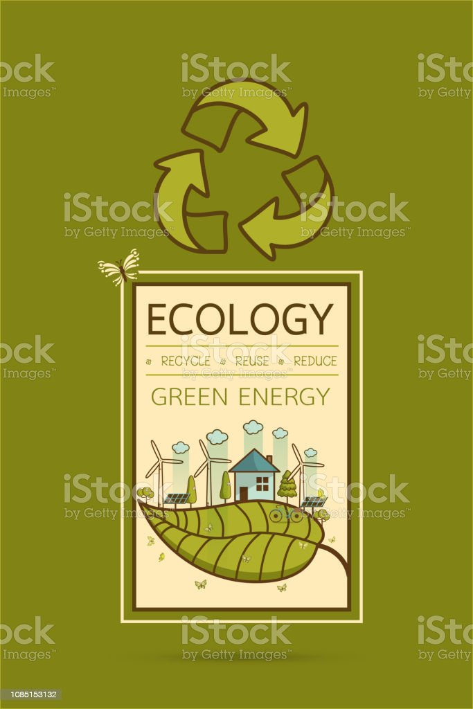 Vector illustration of eco home vector art illustration
