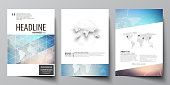 The vector illustration of the editable layout of three A4 format modern covers design templates for brochure, magazine, flyer, booklet. Polygonal geometric linear texture. Global network, dig data concept.
