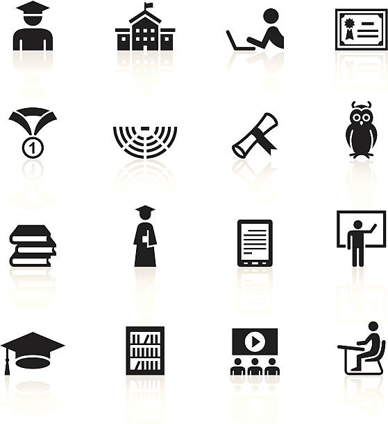 Vector illustration of education symbols Illustration representing different college & students icons. amphitheater stock illustrations
