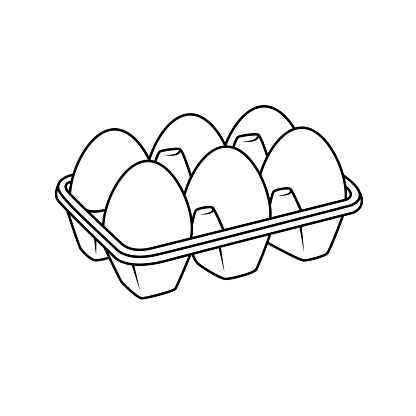 Vector illustration of egg isolated on white background for kids coloring activity worksheet/workbook.
