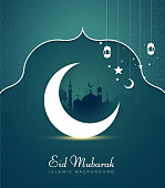 Vector Illustration of Eid Mubarak Greeting Card with Mosque Architecture and Glowing Moon for celebration of Islamic Community Festival.