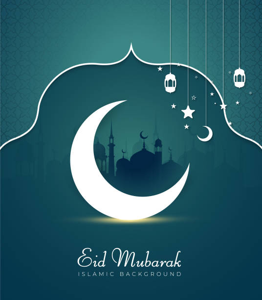 Vector Illustration of Eid Mubarak for the celebration Islamic Community Festival. Vector Illustration of Eid Mubarak Greeting Card with Mosque Architecture and Glowing Moon for celebration of Islamic Community Festival. eid mubarak stock illustrations