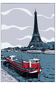 Classic style illustration of Paris landmark. In foreground is a boat on Seine river. In background seen across the water, famous Eiffel Tower