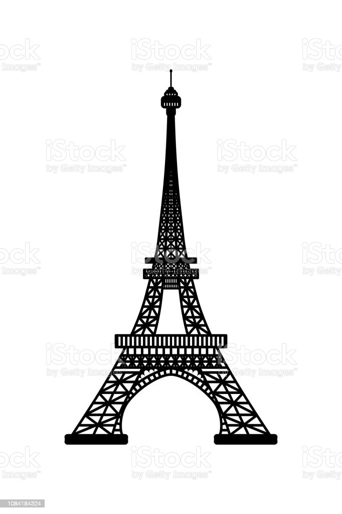 Vector Illustration Of Eiffel Tower Symbol Of Paris France Black Silhouette Isolated On White Background Stock Illustration Download Image Now Istock