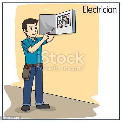 Vector illustration of electrician, mechanic isolated on white background. Jobs and occupations concept. Cartoon characters. Education and school kids coloring page, printable, activity, worksheet, flashcard.