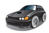 Vector illustration of elegant black sport car in cartoon style
