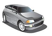 Vector illustration of elegant silver gray sport car in cartoon style