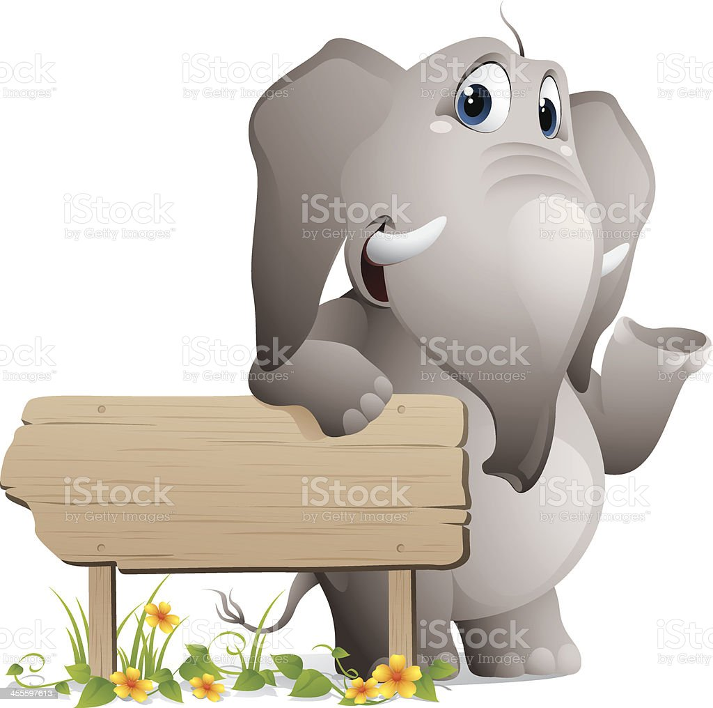 Vector illustration of elephant on wooden sign royalty-free vector illustration of elephant on wooden sign stock vector art & more images of africa
