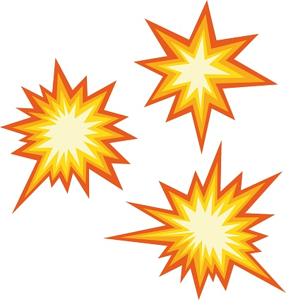 Vector illustration of emoticons of an explosive collision