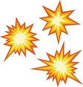 istock Vector illustration of emoticons of an explosive collision 1308024366