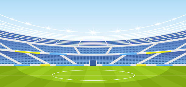 Vector illustration of empty sports stadium with lights in flat cartoon style. Vector illustration of empty sports stadium with lights in flat cartoon style stadium stock illustrations