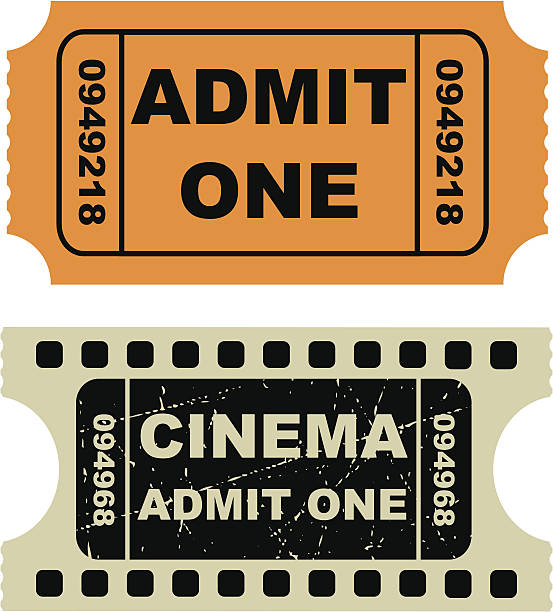 Vector illustration of entertainment tickets Two tickets seen arranged vertically.  The tickets are roughly the same size.  The top ticket is orange and displays