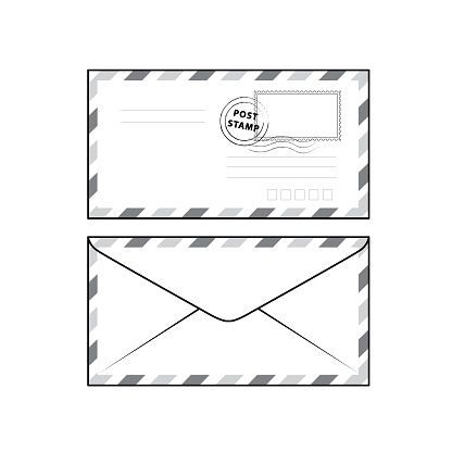 Vector illustration of envelope isolated on white background. Black and White for coloring. School things and accessories concept. Education and school material, kids coloring page, printable, activity, worksheet, flash card.