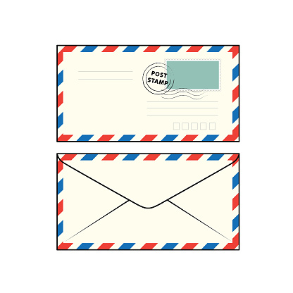 Vector illustration of envelope isolated on white background. School things and accessories concept. Education and school material, kids coloring page, printable, activity, worksheet, flash card.