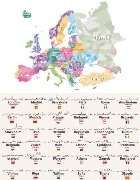 bildbanksillustrationer, clip art samt tecknat material och ikoner med vektorillustration av europa hög detaljerad regioner karta med europeiska städer horisonter beskriver ikoner - skyline stockholm