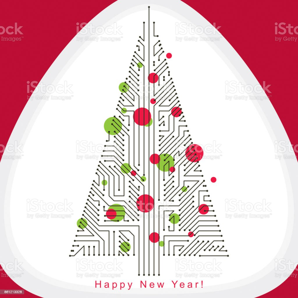Vector illustration of evergreen Christmas tree created with wireframe and connected lines as branches. Celebration theme. Eco friendly technology concept. vector art illustration