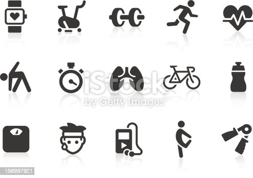 Simple fitness related vector icons for your design and application. Files included: vector EPS, JPG, PNG.