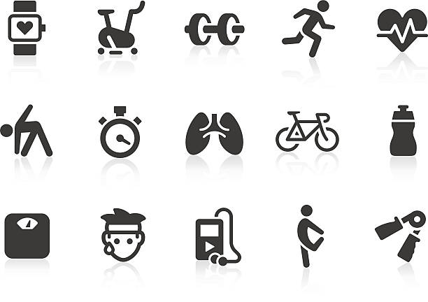 vector illustration of exercise icons - sports medicine stock illustrations, clip art, cartoons, & icons
