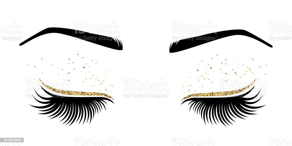Vektor-Illustration der Augen mit langen Wimpern – Vektorgrafik