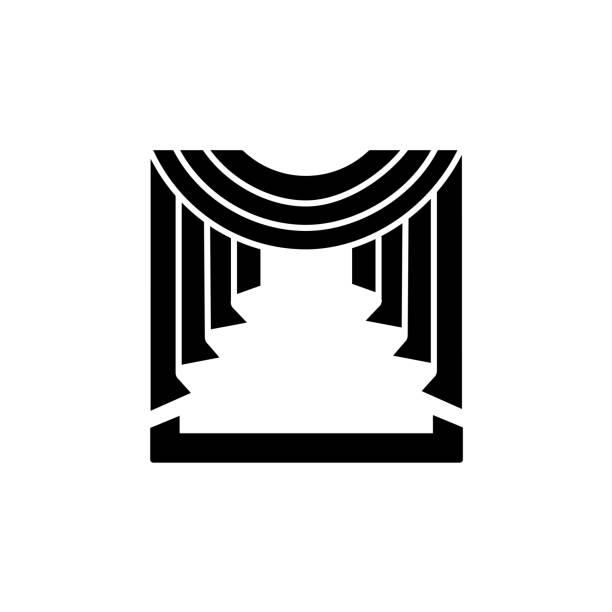 vektor-illustration stoffvorhang mit zentralen swag drapierung. flache ikone der fenster drapieren. isoliertes objekt - stoffrollos stock-grafiken, -clipart, -cartoons und -symbole