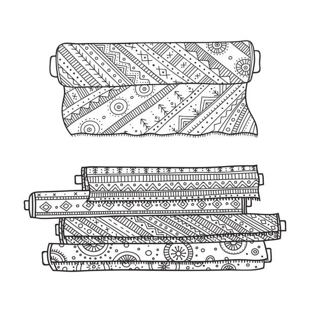 vektor-illustration des gewebes rollt. - stoffmarkt stock-grafiken, -clipart, -cartoons und -symbole