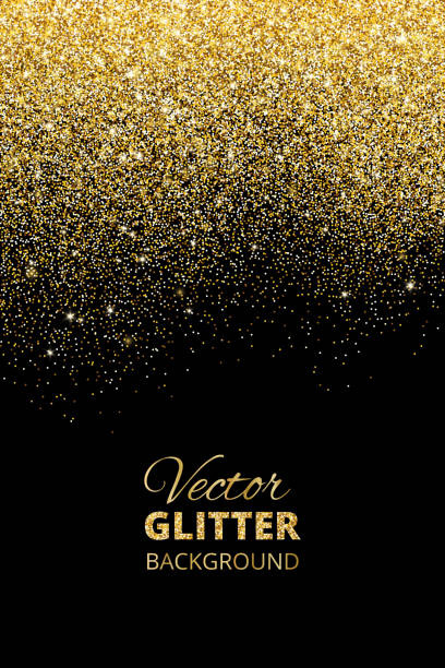 Vector illustration of falling glitter confetti, golden dust. Fe vector art illustration