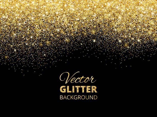 vektor-illustration von fallenden glitter konfetti, goldenen staub. fe - ferien und feiertage stock-grafiken, -clipart, -cartoons und -symbole