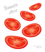Vector illustration of falling tomato slices isolated on white background. A cut rings of fresh ripe vegetables. Set of four different angles of view. Natural eco product