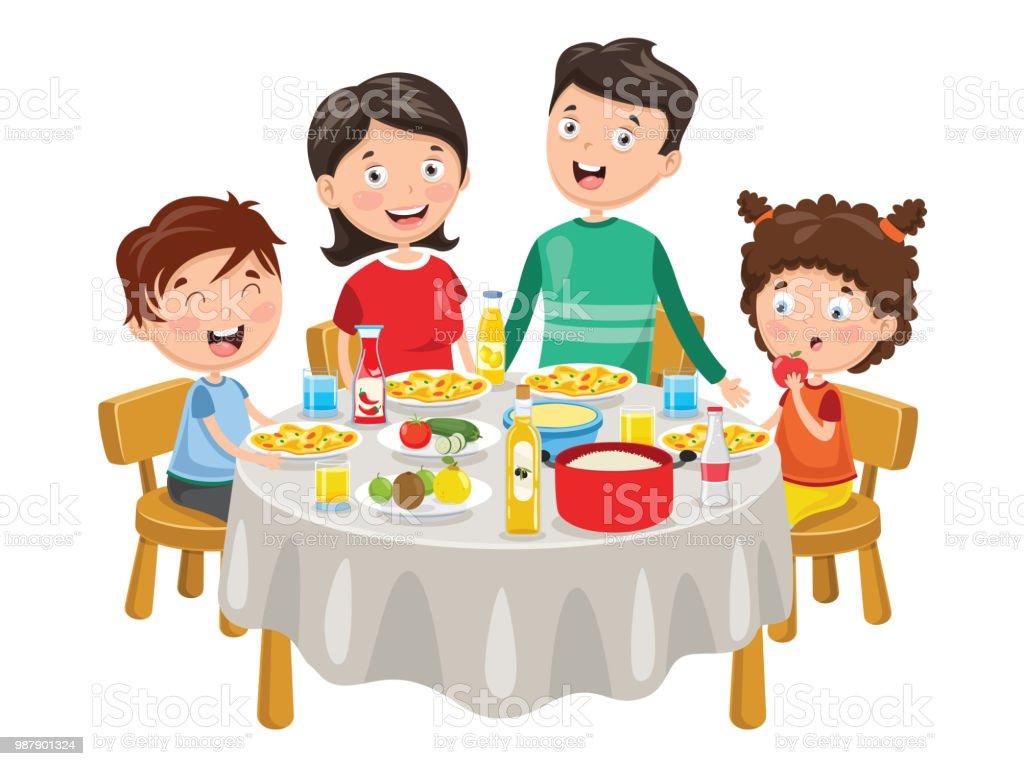 Illustration vectorielle de famille en train de dîner - Illustration vectorielle
