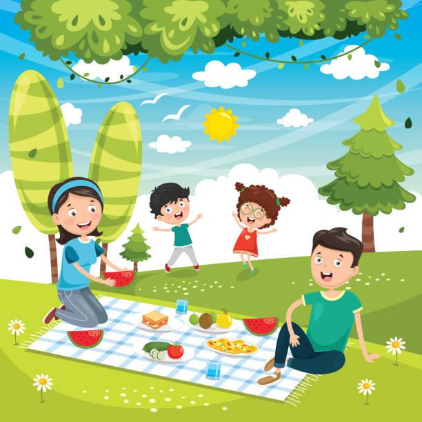 illustrazioni stock, clip art, cartoni animati e icone di tendenza di vector illustration of family picnic - pesche bambino