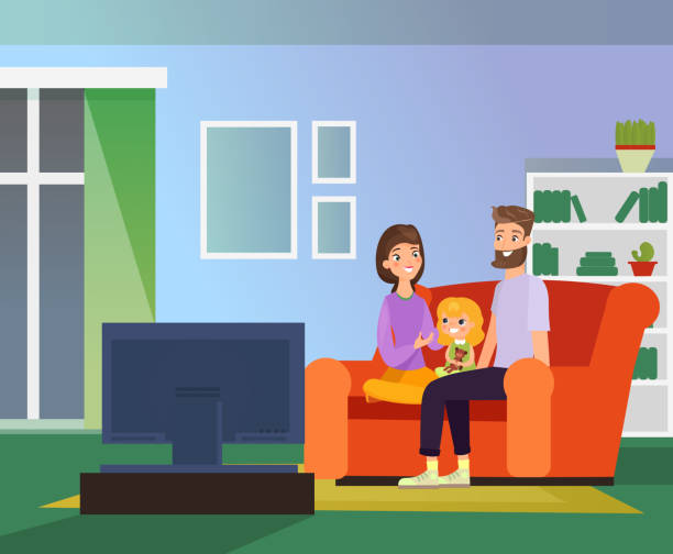 Vector illustration of family together watching TV, family evening. Happy parents and daughter sitting on sofa in living room watch television, cartoon flat style illustration. Vector illustration of family together watching TV, family evening. Happy parents and daughter sitting on sofa in living room watch television, cartoon flat style illustration family watching tv stock illustrations