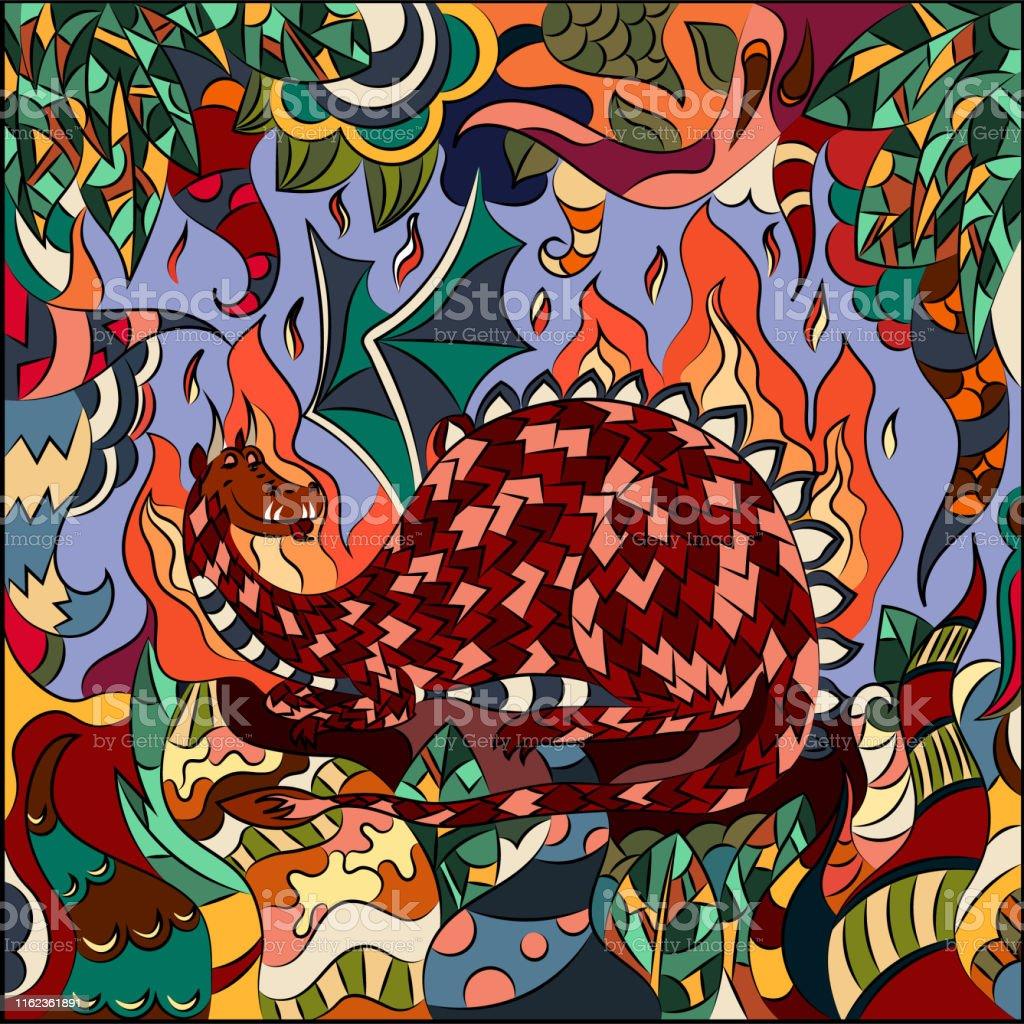 幻想的な植物と大きなドラゴンのベクトルイラスト壁紙テキスタイルの背景や本のカバーのための抽象的なグラフィックス いたずら書きのベクターアート素材や画像を多数ご用意 Istock