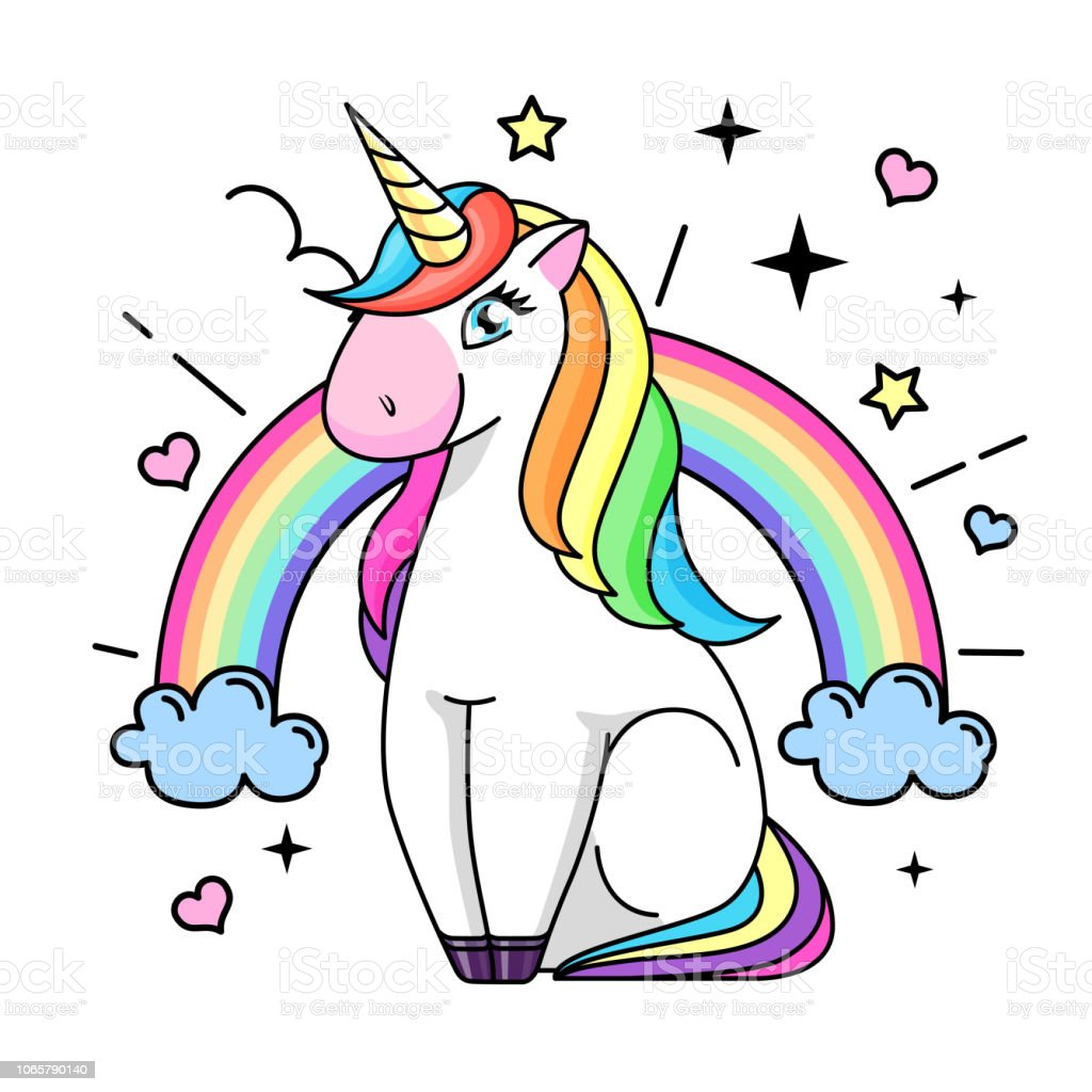 Vector illustration of fantasy animal horse unicorn. Flat style design