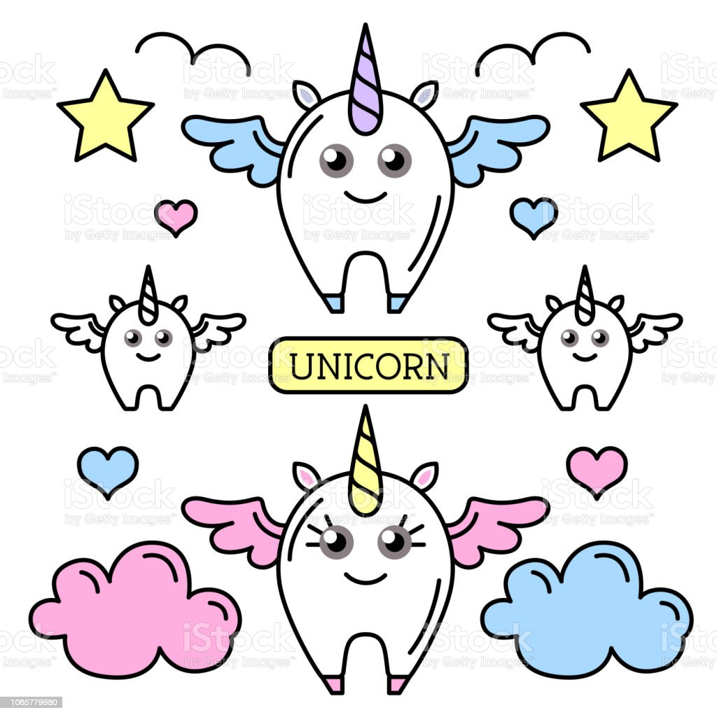 Vector Illustration Of Fantasy Animal Horse Unicorn Flat Style