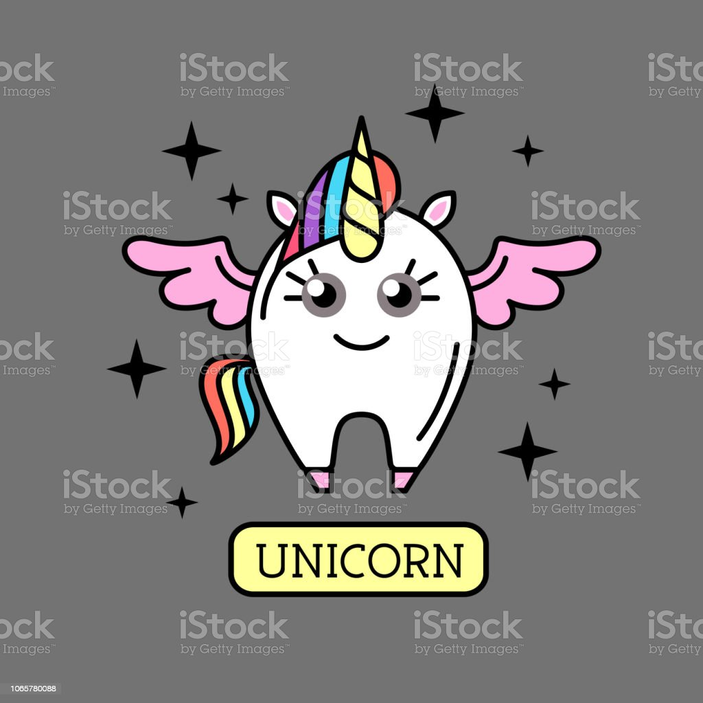 Vector illustration of fantasy animal horse unicorn on rainbow...