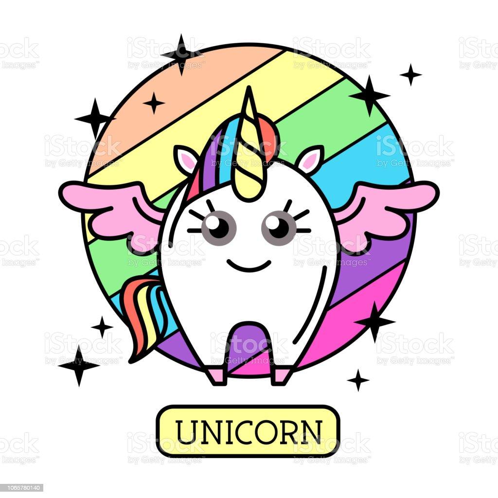 Vector illustration of fantasy animal horse unicorn on rainbow...