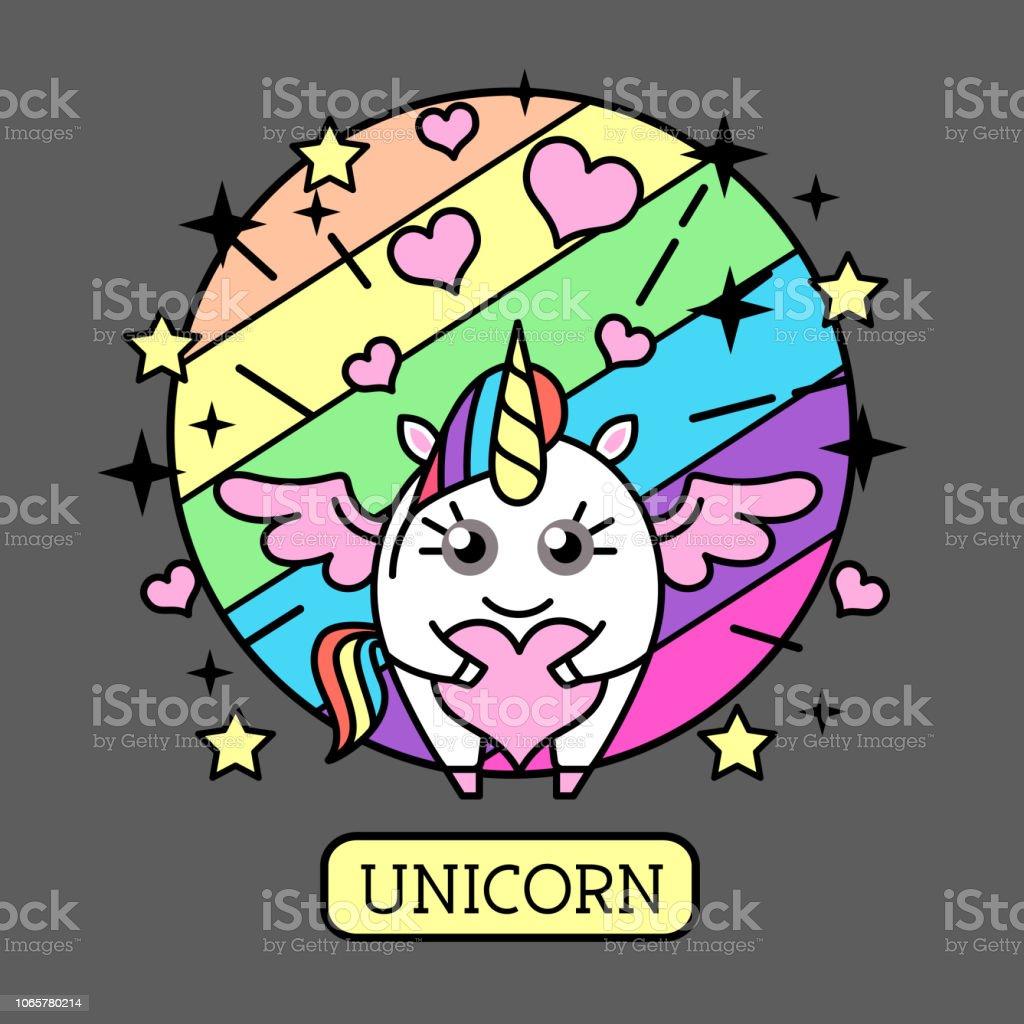 Vector illustration of fantasy animal horse unicorn with heart on...