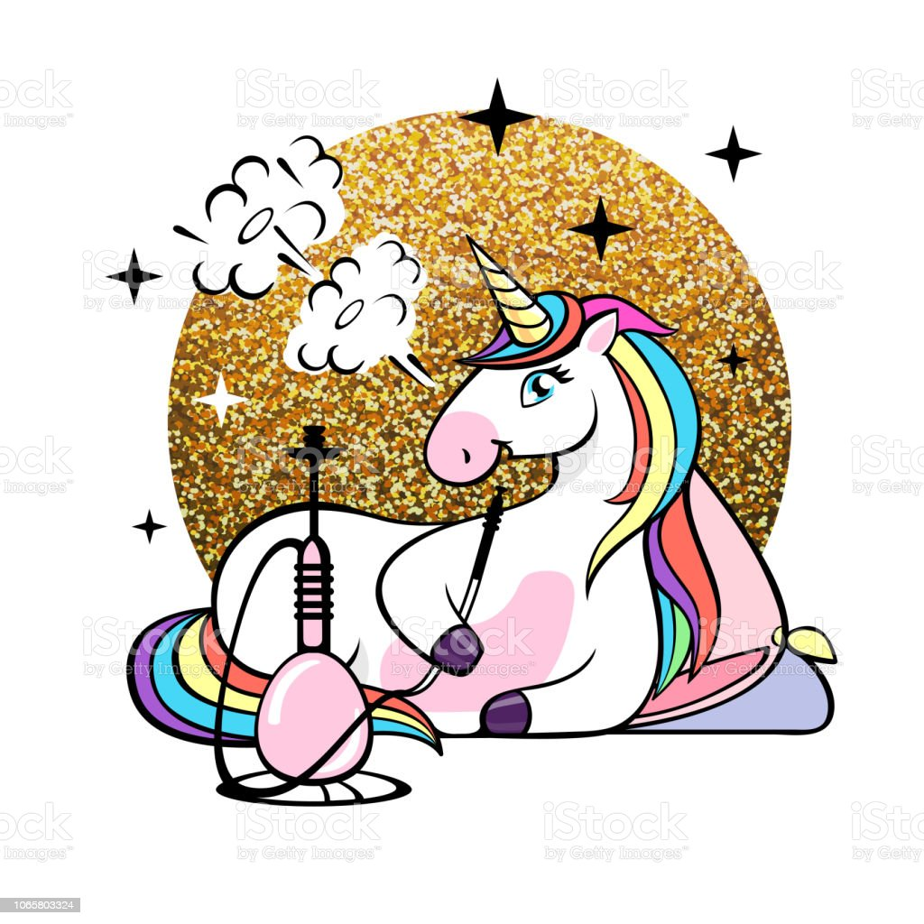 Vector illustration of fantasy animal horse unicorn with hookah