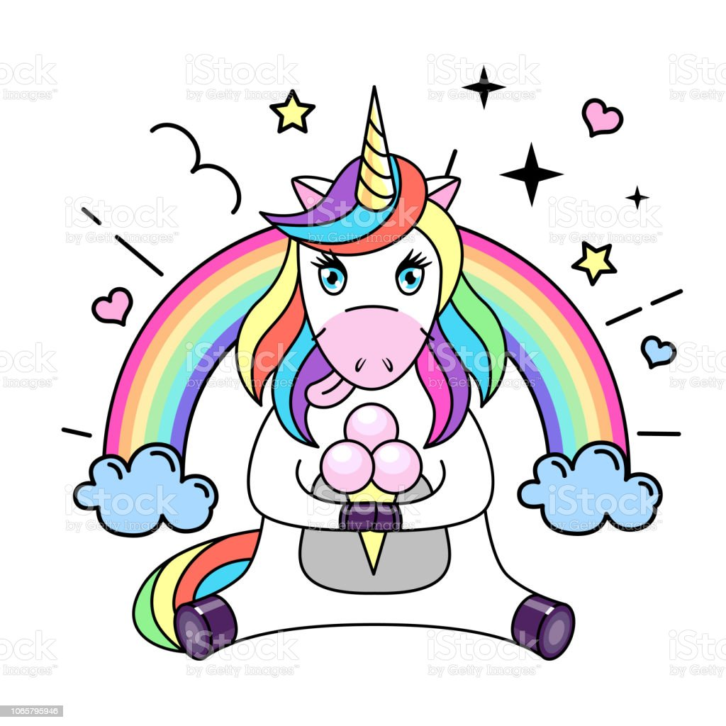 Vector illustration of fantasy animal horse unicorn with ice cream....