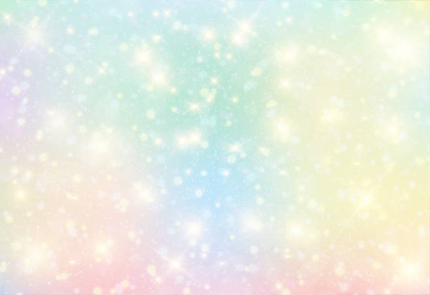 vector illustration of fantasy background and pastel color. - rainbow glitter background stock illustrations, clip art, cartoons, & icons
