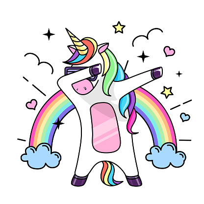 Vector illustration of fantasy dabbing horse unicorn. Flat style design
