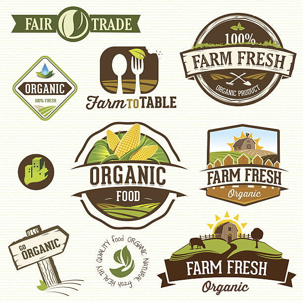 Vector illustration of farm fresh organic labels Set of  farm fresh-organic labels and elements farmer's market stock illustrations