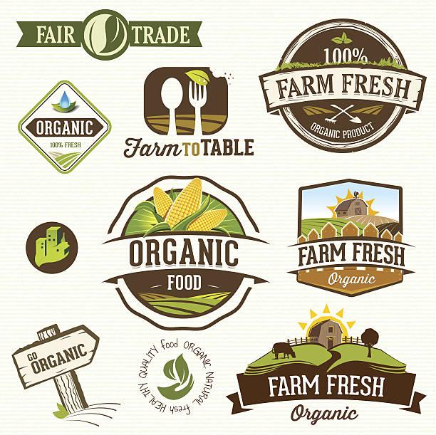 ilustrações, clipart, desenhos animados e ícones de ilustração em vetor de uma fazenda etiquetas orgânicos frescos - corn farm