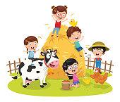 Vector Illustration Of Farm Kid