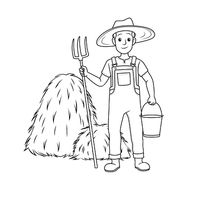 Vector illustration of farmer isolated on white background. Jobs and occupations concept. Cartoon characters. Education and school kids coloring page, printable, activity, worksheet, flashcard.