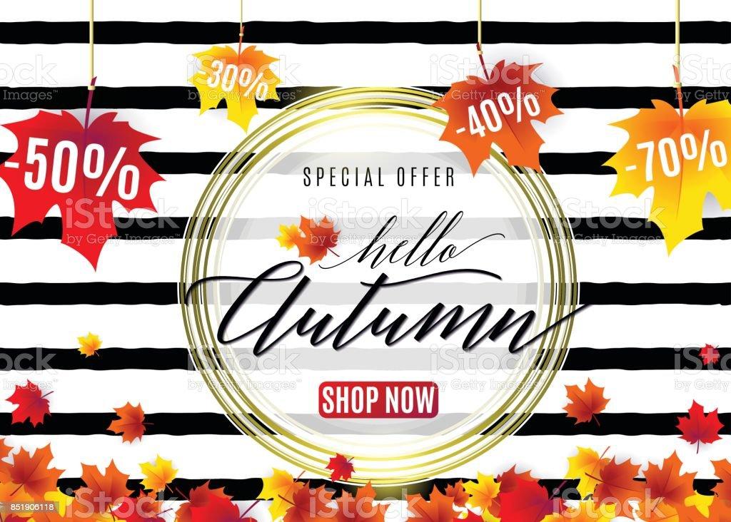 Vector illustration of fashion autumn sale poster vector art illustration