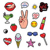 Vector illustration of fashion fun patch stickers with lips, lipstick